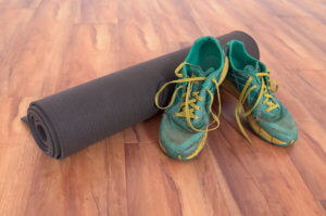 yoga for running shoes mat